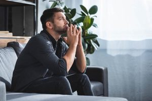 a man waiting to start anxiety treatment